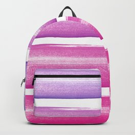 Simply hand painted pink and magenta stripes on white background  2 - Mix and Match Backpack