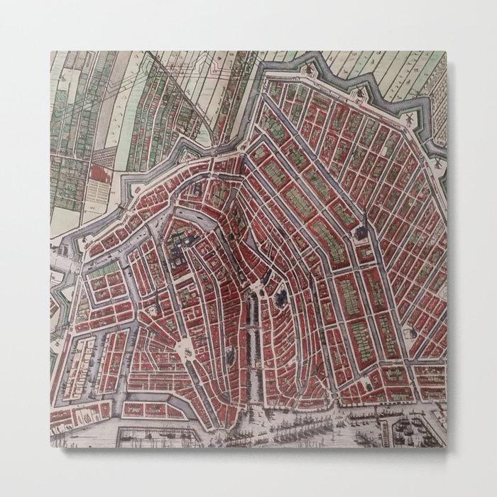 Replica city map of Amsterdam 1652 Metal Print