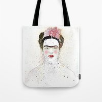frida kahlo Tote Bags featuring Frida Kahlo  by Marttala