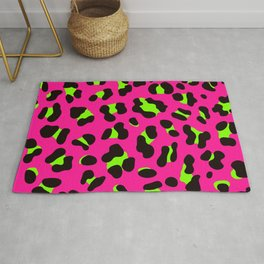 80s Neon Pink and Lime Green Leopard Rug