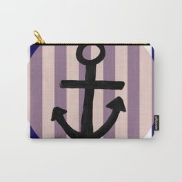 Nautical Anchor Blue White and Pink Carry-All Pouch