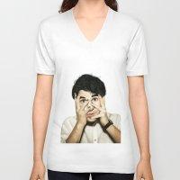 darren criss V-neck T-shirts featuring Darren Criss by weepingwillow