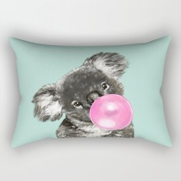 Playful Koala Bear with Bubble Gum in Green Rectangular Pillow