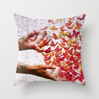 butterflies Throw Pillows featuring Butterflies by Lia Bernini