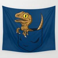 jurassic park Wall Tapestries featuring Pocket Raptor (Jurassic Park Velociraptor) by Tabner's