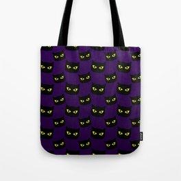Black and purple cat Halloween pattern Tote Bag