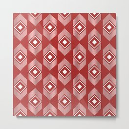 Tribal geometry - red Metal Print
