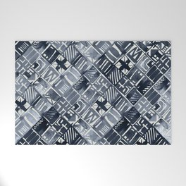 Simply Tribal Tiles in Indigo Blue on Lunar Gray Welcome Mat