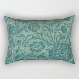 art Nouveau,teal,William Morris style, floral,chic,elegant,modern,trending,victorian decor,floral pa Rectangular Pillow