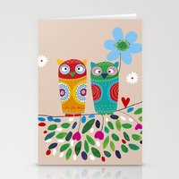 owls Stationery Cards featuring owls by Marianna Jagoda
