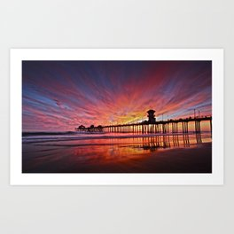 Sunset Huntington Beach Pier CA   Art Print