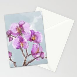 Watercolor Orchids Stationery Cards