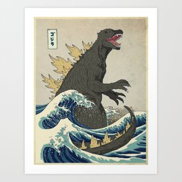 The Great Godzilla off Kanagawa Kunstdrucke