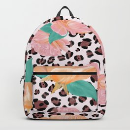 Leopard and watercolor roses pattern  Backpack