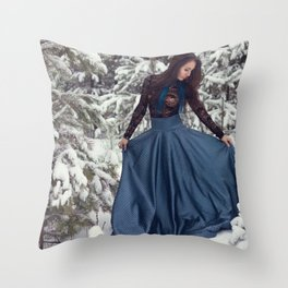 winter girl Throw Pillow