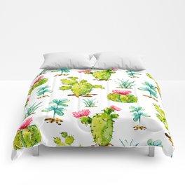 Green Cactus Watercolor Comforters