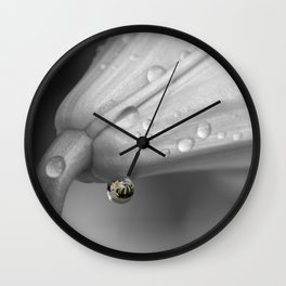 Colourful detail on black and white lily Wall Clock