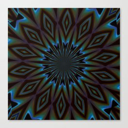 Blue and Brown Floral Abstract Canvas Print