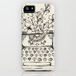 Typewriter with Flowers iPhone Case