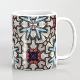 Leather Collage in Teal, Red, Black and White - 3D Macro Photo Coffee Mug