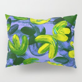Acrylic Painting Layered Tulips Floral Pattern Neon Lime Yellow Green Purple Pillow Sham