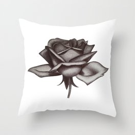 Black and White Rose in Ink Throw Pillow