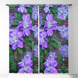 Purple Clematis. Textile art Blackout Curtain