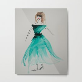 Girl in the Green Dress Metal Print