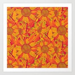 Sunflowers (Yellow and Red) Art Print