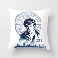 sherlock Throw Pillows featuring Sherlock by Jackie Sullivan