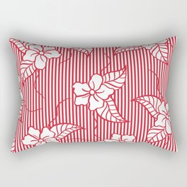 Fashion red flame scarlet white floral hand drawn geometric stripes pattern Rectangular Pillow
