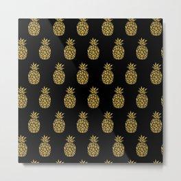 Golden Pineapple Tropical Fruit Summer  Metal Print