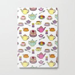 Time for Tea colorful Pattern Print Metal Print