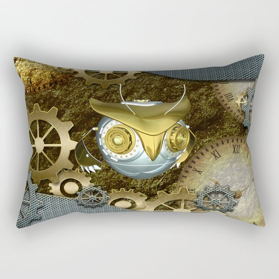 Steampunk, awesome owl Rectangular Pillow