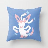 sylveon Throw Pillows featuring Sylveon by Polvo