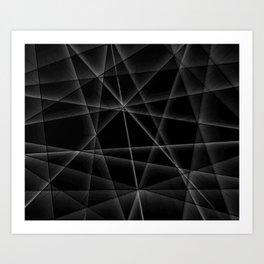black and white random lines Art Print
