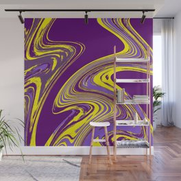 Purple and Yellow Fluid Painting Wall Mural