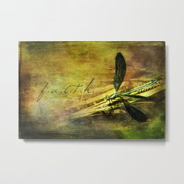 Ebony Jewel Wing Damselfly Faith Metal Print