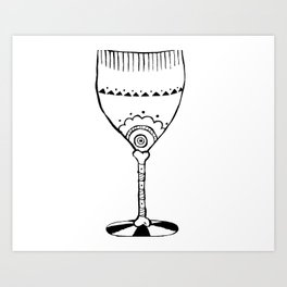 Abstract-Fashion-Illustration-Wine-Glass Art Print
