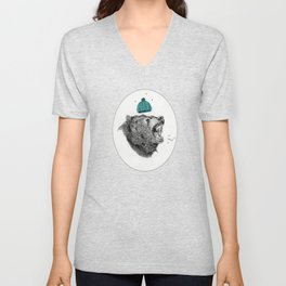 bear and cigaret  Unisex V-Neck