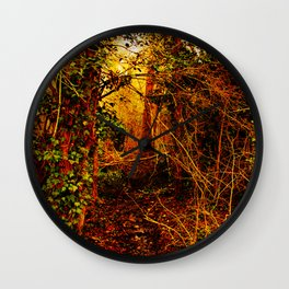 Winter forest stream Wall Clock