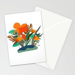 Floral orange magic between plants decor art Stationery Cards