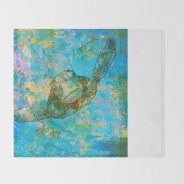 Sea Turtle Over Atlantis Throw Blanket