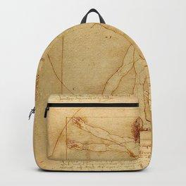 The Vitruvian Man 1405 (L Uomo Vitruviano) Leonardo da Vinci Artwork for Prints Posters Tshirts Men Backpack
