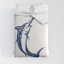 Blue Marlin Jumping Retro Comforters