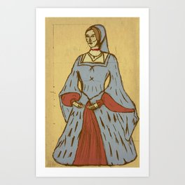 Queen of Heads on Parchment Art Print