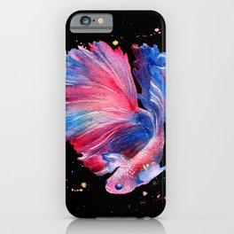 Betta Splendens Fish - Black Background iPhone Case