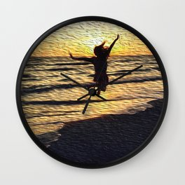 jump and be free #society6 Wall Clock