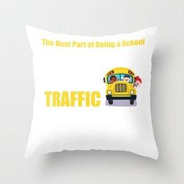 Best Part of Being School Bus Driver Stop Traffic T-Shirt Throw Pillow