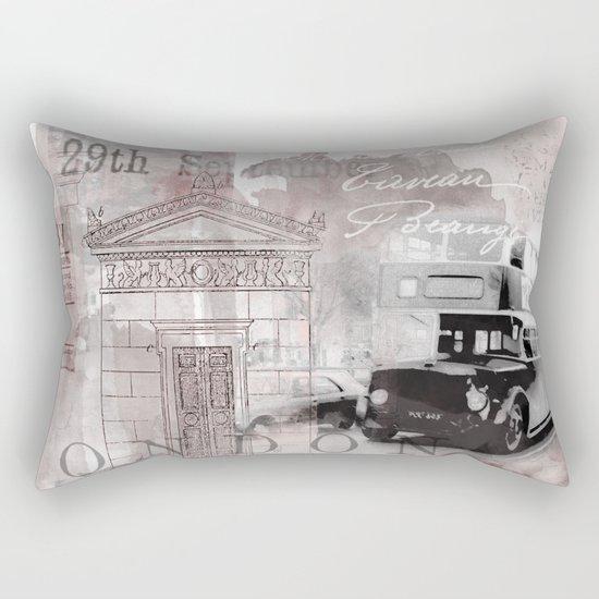 Vintage England London Britain Illustration Pastel Colors Rectangular Pillow